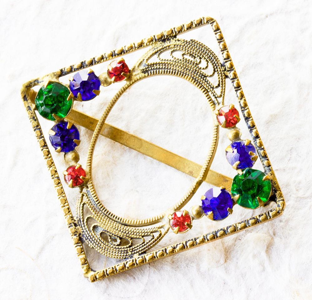Small Czech Square Art Deco Sash Buckle With Bright Coloured Rhinestones