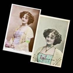 Two Vintage Handtinted Postcards Edwardian English Actress Gertie Millar