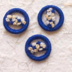 Handmade Vintage Dorset Style Embroidered Wool Buttons circa 1930 (lot 3)