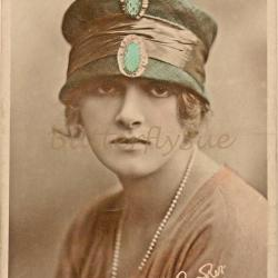 RPPC Gladys Cooper in a Sinamay Toque Hat - Handtinted Unposted