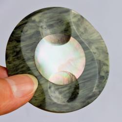 Large Vintage Plastic button With Mother of Pearl Inlay - Early Twentieth Century- Art Deco