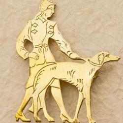 Art Deco Lady Walking The Dog Brooch - Brass 1930's